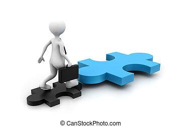 uomo affari, con, puzzle