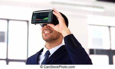 uomo affari, con, realtà virtuale, cuffia, a, ufficio