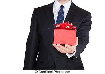 uomo affari, con, regalo