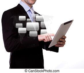 uomo affari, con, schermo tocco, congegno