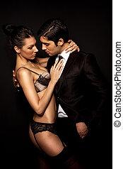 uomo affari, con, sexy, donna, in, biancheria intima