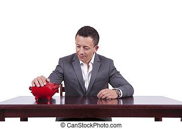 uomo affari, con, suo, banca piggy