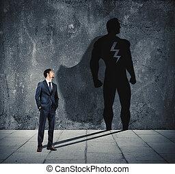 uomo affari, con, suo, uggia, di, eroe super, su, il, wall., concetto, di, potente, uomo