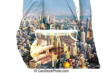 uomo affari, con, tavoletta, e, città, di, bangkok, doppia esposizione