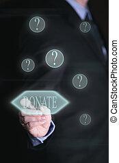 uomo affari, con, touchscreen, concetto, donazione