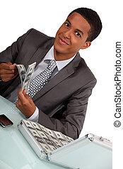 uomo affari, con, uno, cartella, pieno, di, soldi