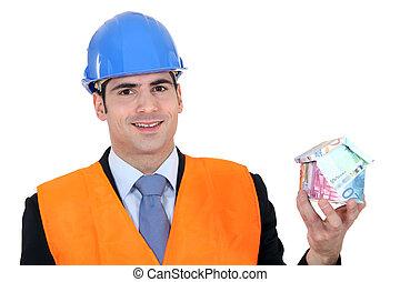 uomo affari, con, uno, casa, fatto soldi