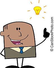 uomo affari, con, uno, idea luminosa