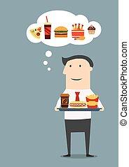 uomo affari, con, vassoio, di, fast food