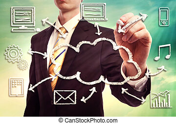 uomo affari, concetto, nuvola, calcolare
