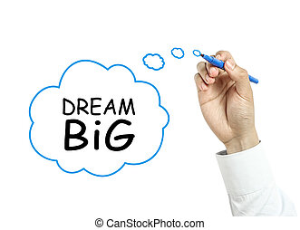uomo affari, concetto, sogno, disegno, grande