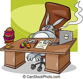 uomo affari, coniglietto pasqua, cartone animato