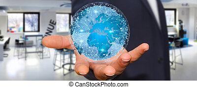 uomo affari, connettere, differente, locali, di, mondo
