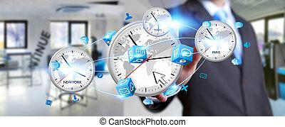 uomo affari, connettere, tempo, di, mondo, in, suo, mano