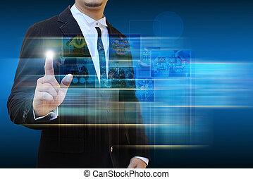 uomo affari, contatto, raggiungimento, immagini, flusso...