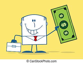 uomo affari, conto, dollaro, presa a terra