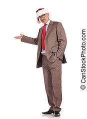 uomo affari, corpo, vecchio, claus, presentare, santa, pieno, immagine