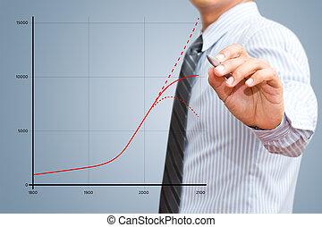 uomo affari, crescita, disegno, grafico