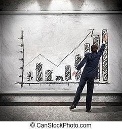 uomo affari, crescita economica, mostra