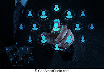 uomo affari, crm, sociale, punti, media, risorse umane, mano