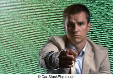 uomo affari, cyber, sicurezza, rete, concetto