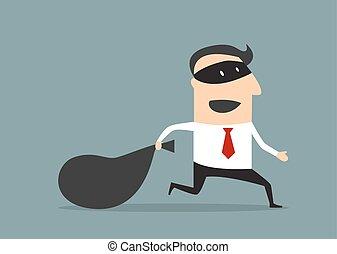 uomo affari, denaro trasporto, ladro, borsa