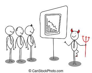 uomo affari, diavolo, presentazione, rosso