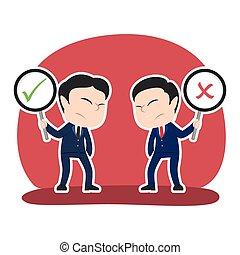 uomo affari, dibattito, cinese, lista