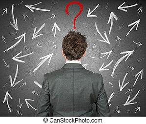 uomo affari, difficile, scelte