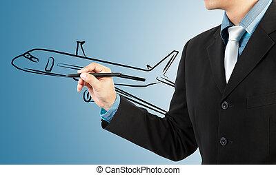 uomo affari, disegnare, aereo, trasporto