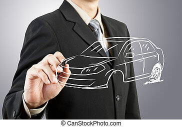 uomo affari, disegnare, automobile, trasporto