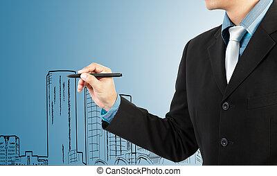 uomo affari, disegnare, costruzione, e, cityscape