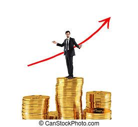 uomo affari, disegnare, crescente, freccia, di, ditta, statistica, sopra, uno, mucchio denaro