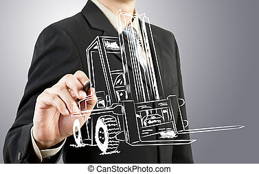 uomo affari, disegnare, forklift, trasporto