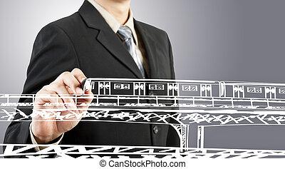 uomo affari, disegnare, treno, trasporto, e, cityscape