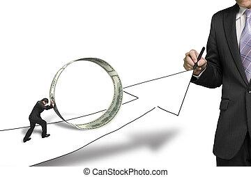 uomo affari, disegno, crescente, freccia, un altro, spinta, soldi, cerchio, su, esso, in, sfondo bianco