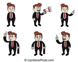 uomo affari, disegno, illustrazione