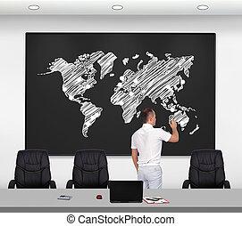 uomo affari, disegno, mappa mondo