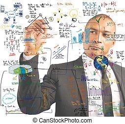 uomo affari, disegno, uno, nuovo, progetto