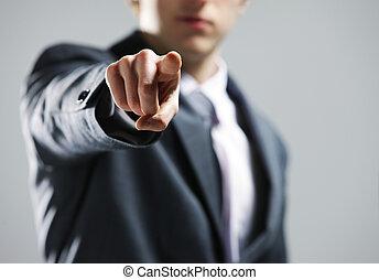 uomo affari, distribuire, lei, indicare