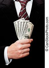 uomo affari, dollari