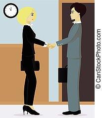 uomo affari, donna d'affari, stringere le mani