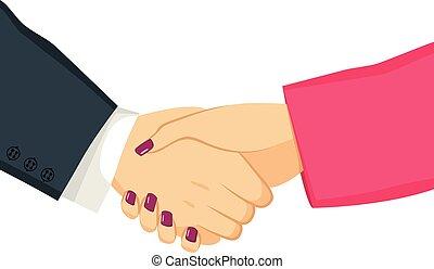 uomo affari, donna d'affari, stringere mano