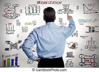 uomo affari, e, affari, organizzazione, scheme.