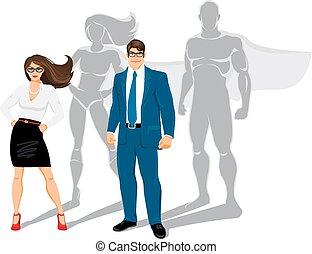 uomo affari, e, donna affari, ufficio, superheroes