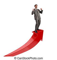 uomo affari, Economico,  exults, successo