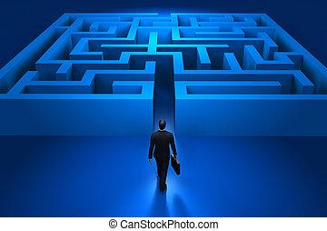 uomo affari, entrare, il, labirinto