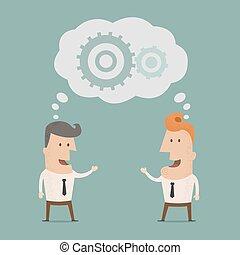 uomo affari, eps10, brainstorming
