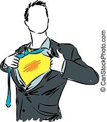uomo affari, eroe super, illustrazione
