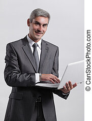 uomo affari, esecutivo, laptop.